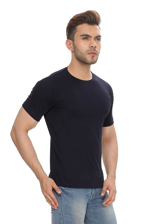Solid Black Unisex Cotton Round Neck T-Shirt