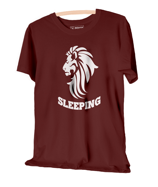Lion Is Sleeping Maroon Unisex Round Neck T-Shirt