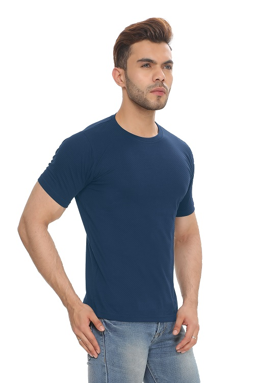Navy Blue Round Neck Polyester T-Shirt