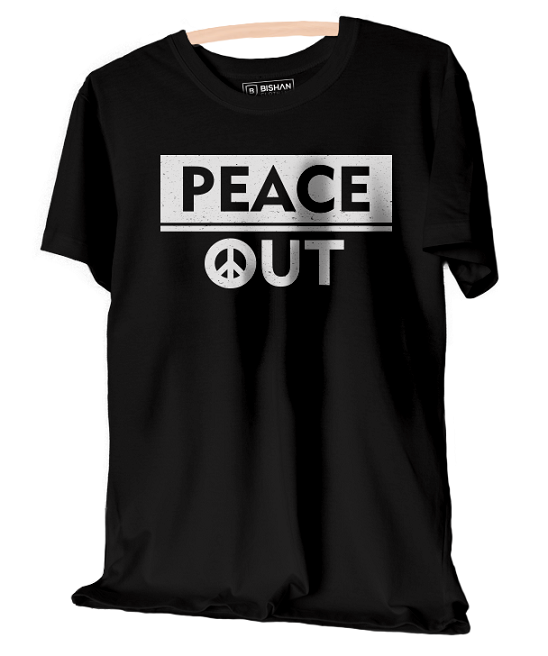 Peace Out Unisex Round Neck Half Sleeve T-Shirt